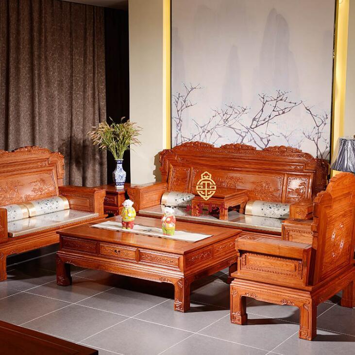 供应 批发红木古典家具锦翎荣华沙发 实木沙发客厅组