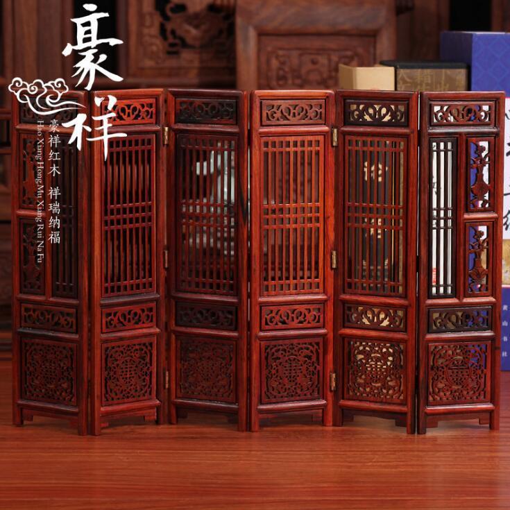 供应 红酸枝屏风 大红酸枝微型小家具 实木质红木微缩精美