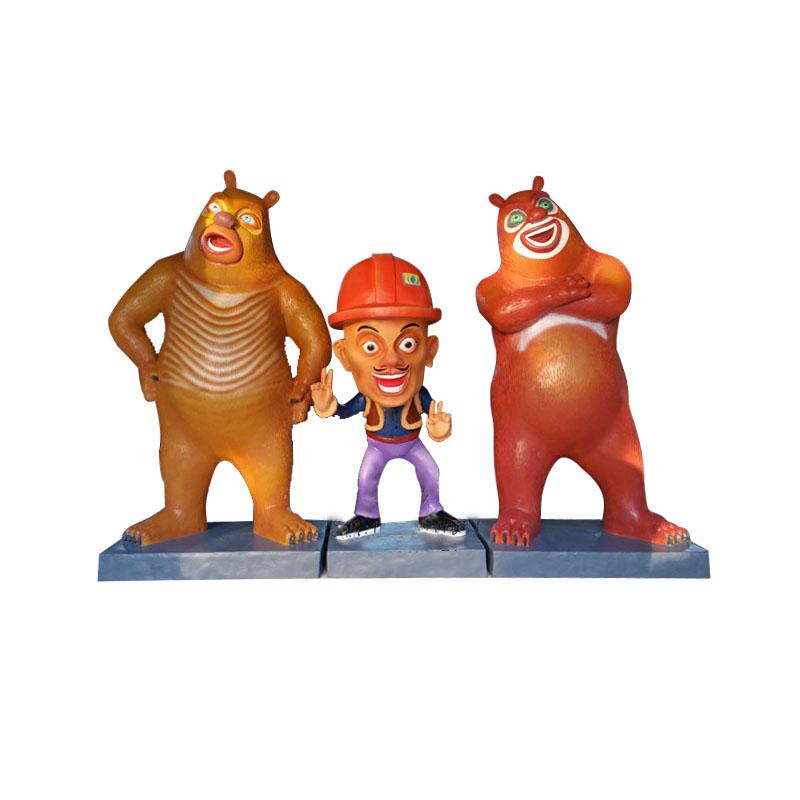 玻璃钢仿真卡通电视人物熊出没雕塑大型商场公园景区树脂彩绘摆件