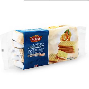 供应 夹心饼干270g香橙味整箱批发休闲食品小吃零食饼干