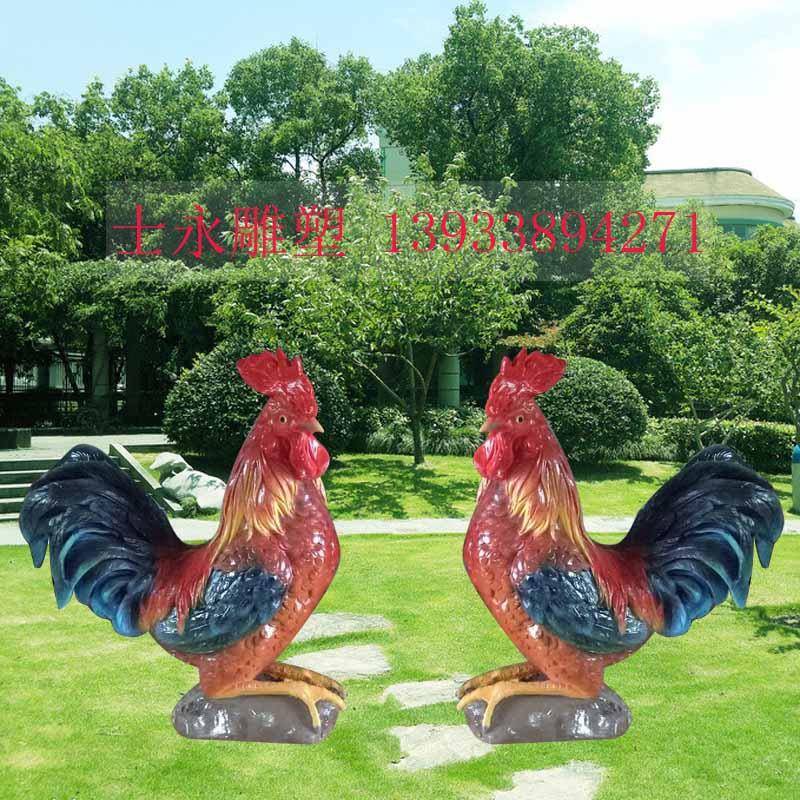 玻璃钢仿真大公鸡雕塑景区园林商店招财树脂彩绘摆件