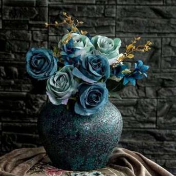 供应景德镇手工陶瓷花瓶三件套发泡釉复古陶瓷花瓶客厅居室摆件花瓶