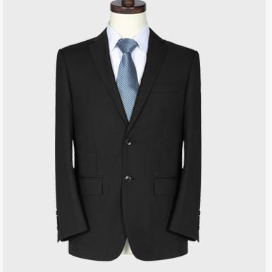 供应 男商务版西服套装 平驳领 两粒扣 黑色毛涤 职业装