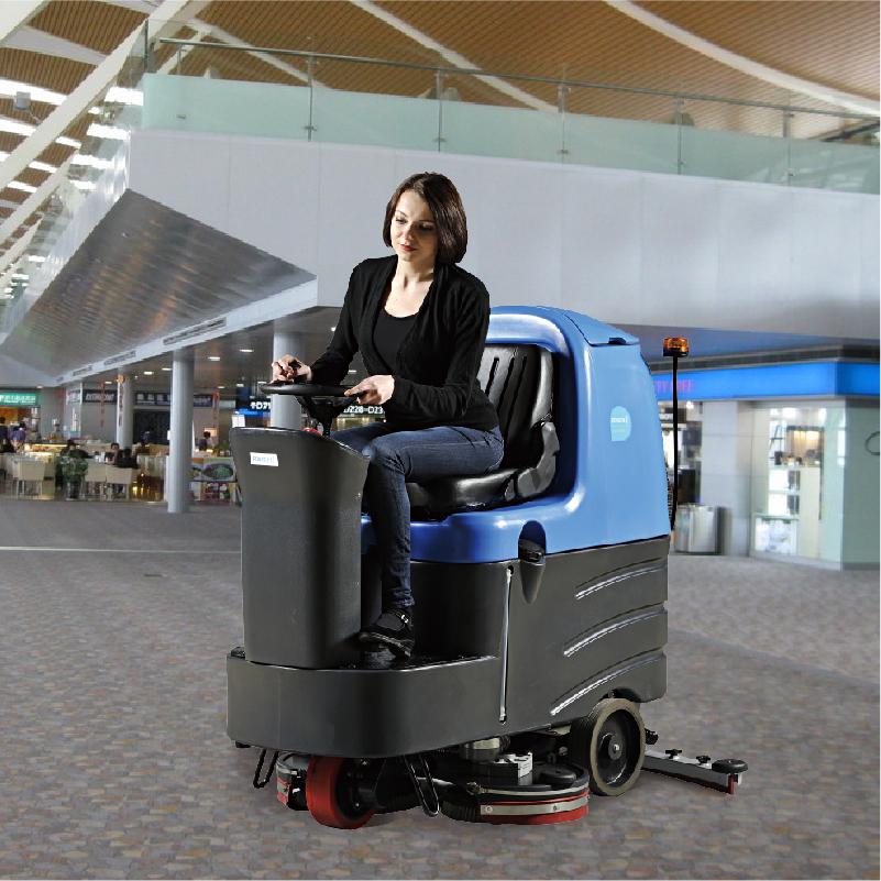 瓷砖水泥地木板大理石地面专用洗地机容恩R125BT70驾驶式洗地机上门试机