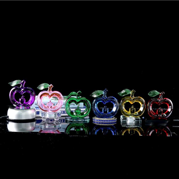 供应 创意苹果水晶灯多色可选 家居装饰水晶工艺品礼品