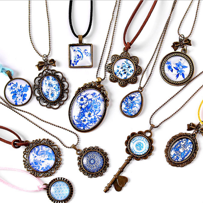 供应 复古青花瓷项链手工材料 时光宝石材料包