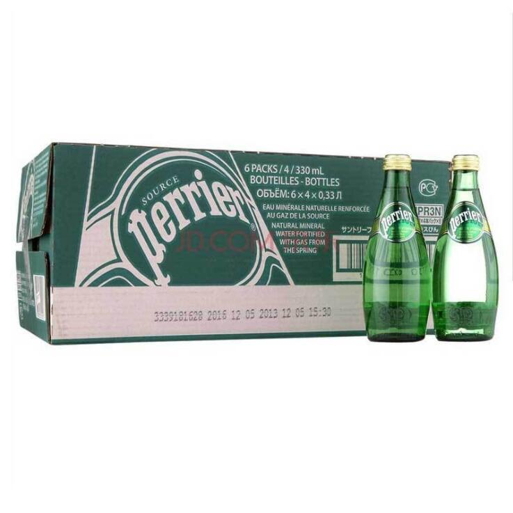 供应 Perrier 巴黎水含气天然矿泉水气泡水原味330ml 整箱24瓶原装进口