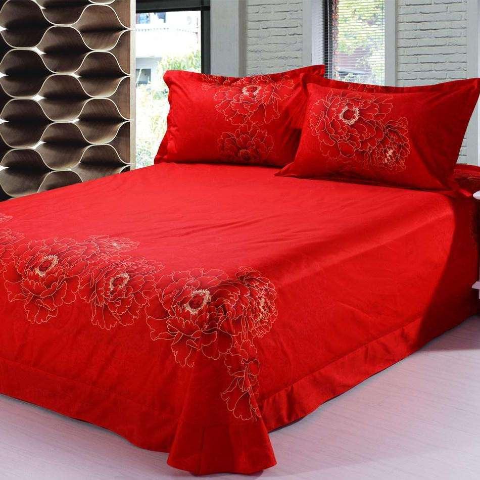新款床上六件套蚕丝真丝床单被套批发结婚红色床上用品厂家直销
