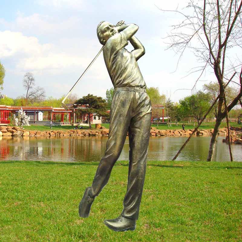 玻璃钢雕塑厂家直销现货打高尔夫球雕塑运动员雕塑树脂摆件