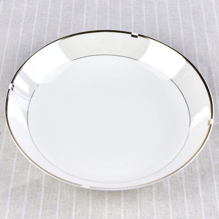 浩新批发圆形唐山骨瓷家用8寸深盘 创意陶瓷餐具套装盘子定制.图片