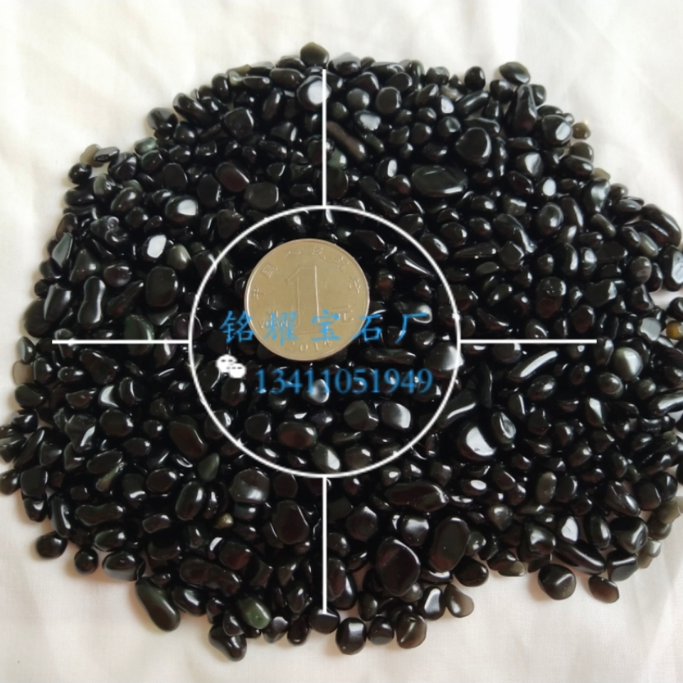 厂家直销 供应天然黑曜 金曜石碎石 冰曜石宝石不定形 黑曜石宝石装饰材料 鱼缸石