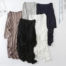 供应 莫代尔蝙蝠袖中袖中长款休闲t恤女夏装韩版V领大码打底衫