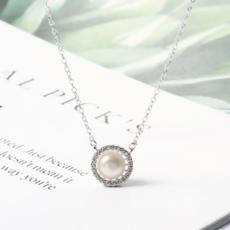 供应 纯银项链天然淡水珍珠韩版饰品时尚潮流女项饰