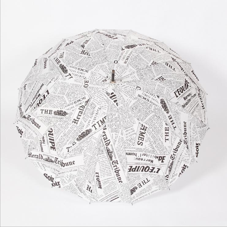 供应 创意报纸16骨雨伞 厂家定制全自动直杆太阳伞