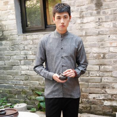 原创中国风亚麻男装长袖衬衫棉麻改良立领休闲衬衣宽松春秋款外套
