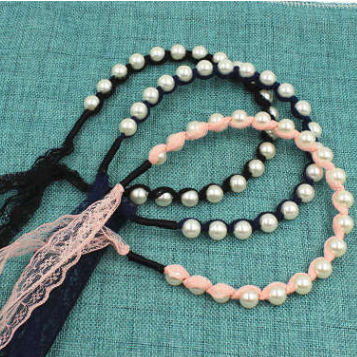 韓國新款珍珠蕾絲飄帶細發箍頭箍韓版蝴蝶結發帶頭飾發飾