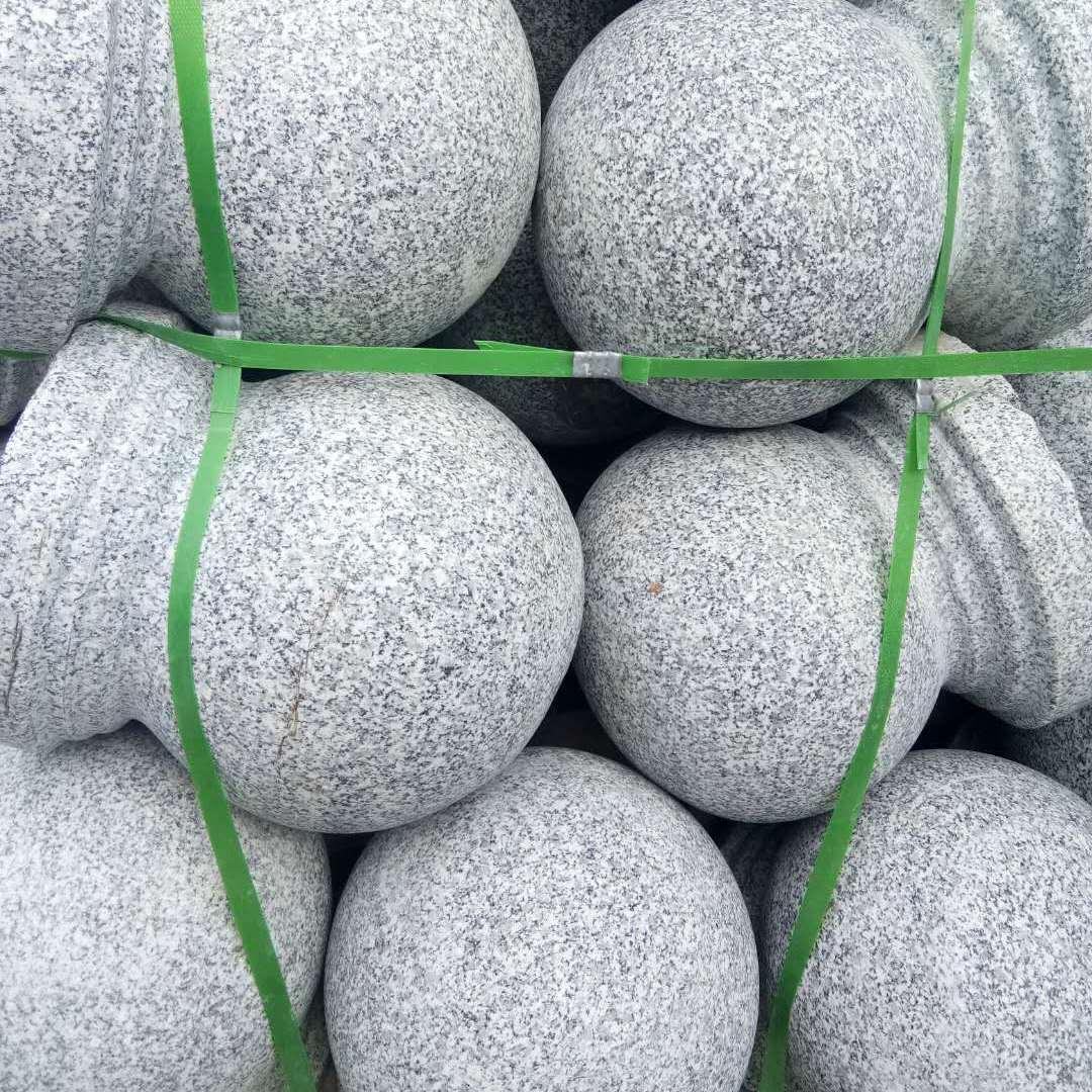 花岗岩石头-芝麻灰路沿石地铺石圆球车阻石-衡阳茺料板材