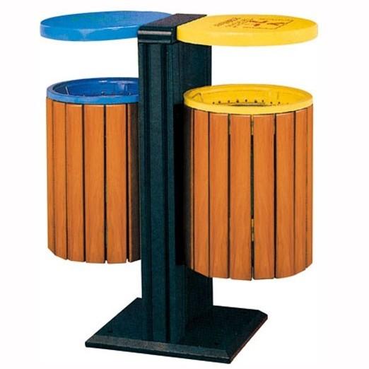 青岛广场不锈钢垃圾桶【振兴品牌】园林景观设施 加工实木垃圾桶