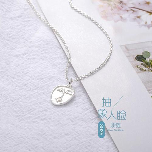 供应 s925纯银项饰女个性锁骨链复古抽象人脸项链