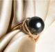 北海珍珠戒指18K金天然海水珍珠大溪地黑珍珠戒指 豪华18K金大溪地黑珍珠戒指