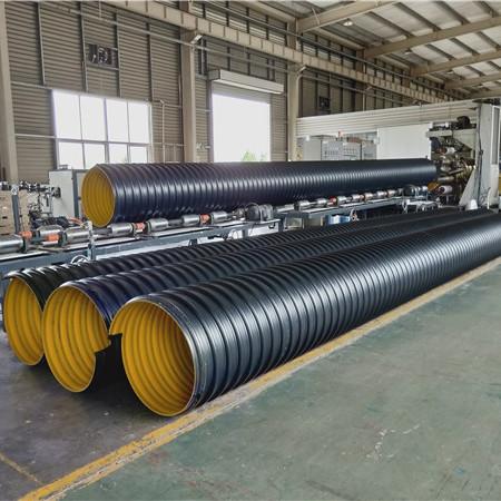 栾川聚乙烯钢带波纹管施工现场 钢带管链接方式