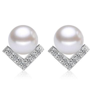 耳钉女镶钻韩版韩式气质珍珠V字形三角镀银耳钉饰品现货