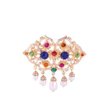 歐美時尚wish跨境爆款飾品批發 復古鏤空珍珠瓖鑽百搭女式胸針
