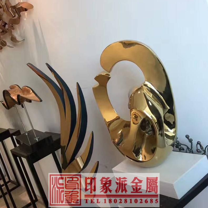 厂家销售304不锈钢雕塑摆件价格 不锈钢制品雕塑餐厅室内摆件装饰