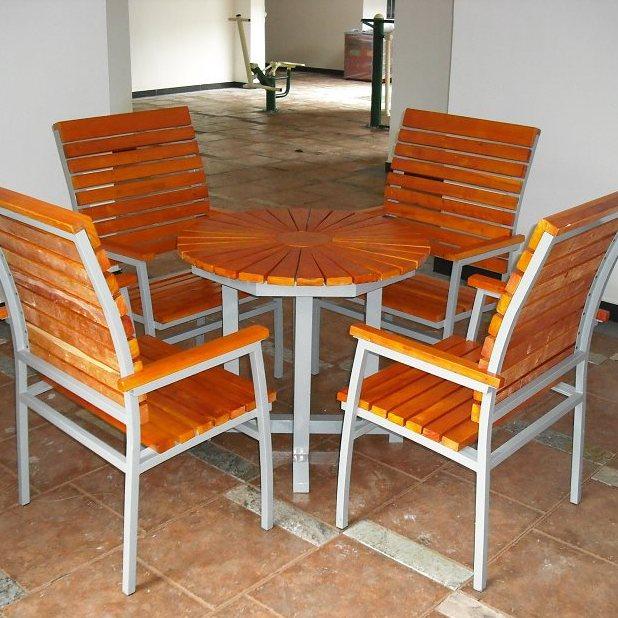 广东深圳社区套桌椅【振兴景观】 定制钢木套桌椅 象棋桌椅厂家