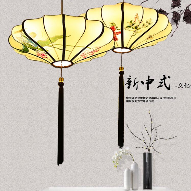 供应 新中式手绘布艺灯笼 中国风长形小吊灯 客餐厅山庄古风灯具
