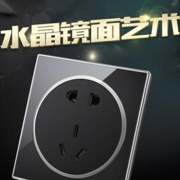 供应 德日墙壁开关插座五孔插座面板二三插电源插座水晶玻璃个性黑面板