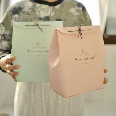 供应 欧式纯简皮绳袋 清新高档礼品包装纸盒 新年礼物纸袋子
