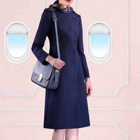 厂家定制冬季新款女士航空羊毛大衣