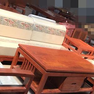 巴花新中式沙发六件套 实木沙发 红木家具
