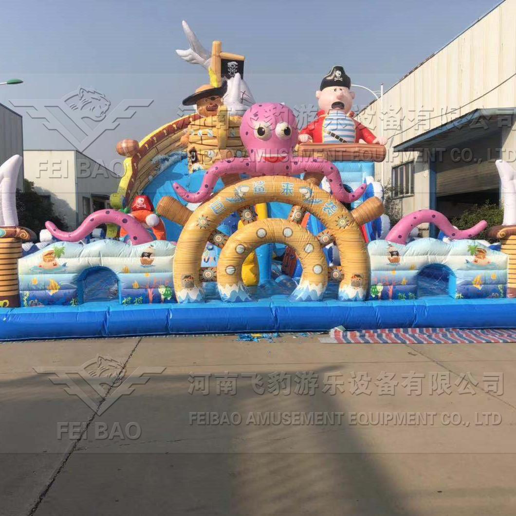 新款巨鲨来袭大滑梯 广场商场大气包 儿童蹦蹦床跳跳床 攀爬充气城堡价格