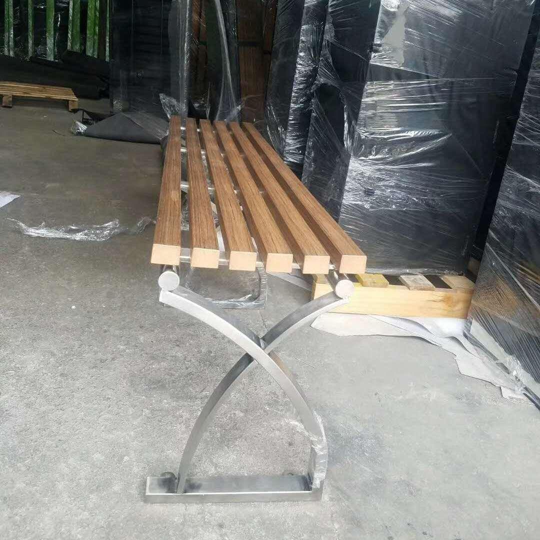 武汉实木休闲椅价格 专业实木椅凳厂家 公园不锈钢椅脚椅