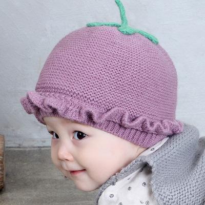 水果宝宝针织帽子婴儿卡通冬帽草莓帽婴儿帽子毛线套头帽