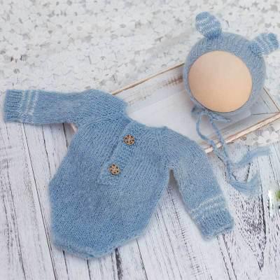 新生儿摄影道具服装针织长袖衣套装拍照影楼宝宝摄影道具