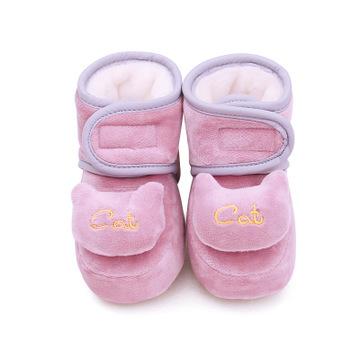 乐芽熊新款冬季婴儿鞋0-1岁软底不掉鞋 加绒学步童鞋保暖宝宝棉鞋