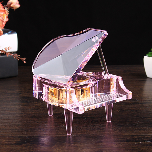 供应 创意水晶钢琴八音盒摆件 时尚发光音乐盒工艺品