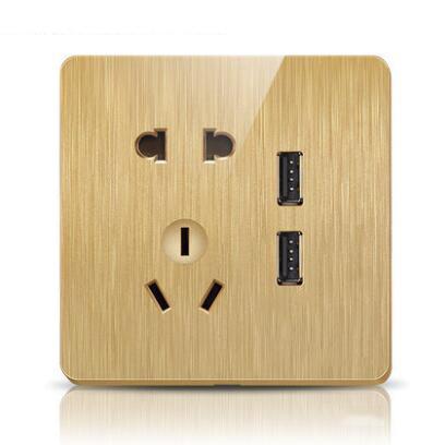 86型大板金色家用墙壁插座USB五孔插座面板