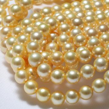 天然珍珠项链8-8.5金色日本海水akoya珍珠项链正圆微微瑕