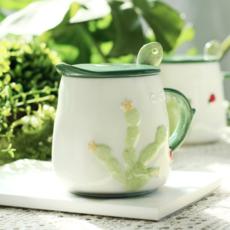 供应 北欧ins仙人掌创意陶瓷马克杯带盖勺咖啡杯可爱水杯牛奶早餐杯子