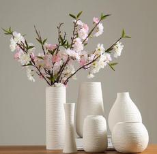 供应现代简约仿真花干花陶瓷花瓶插花花器白色家居饰品