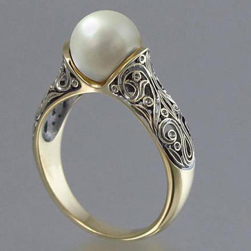 供應進口人造ABS珍珠戒指 鍍14k黃金復古銀飾品