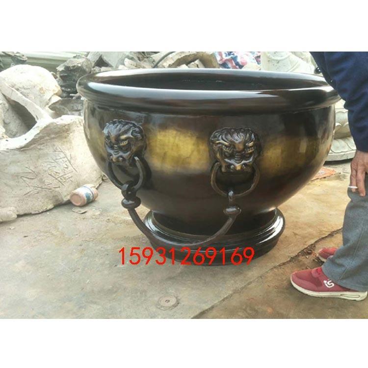 厂家定做大型铜缸 聚宝盆铁缸 大型公司公园景观雕塑摆放