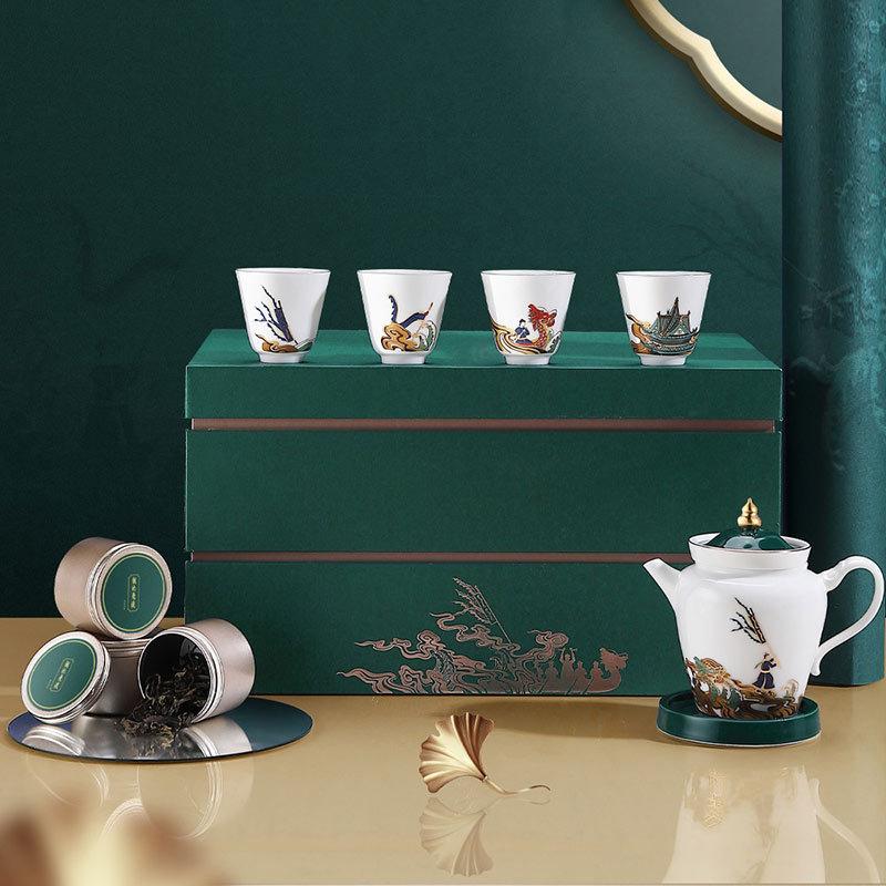 端午节创意商务礼品茶具套装 龙池竞度图系列茶器礼套装